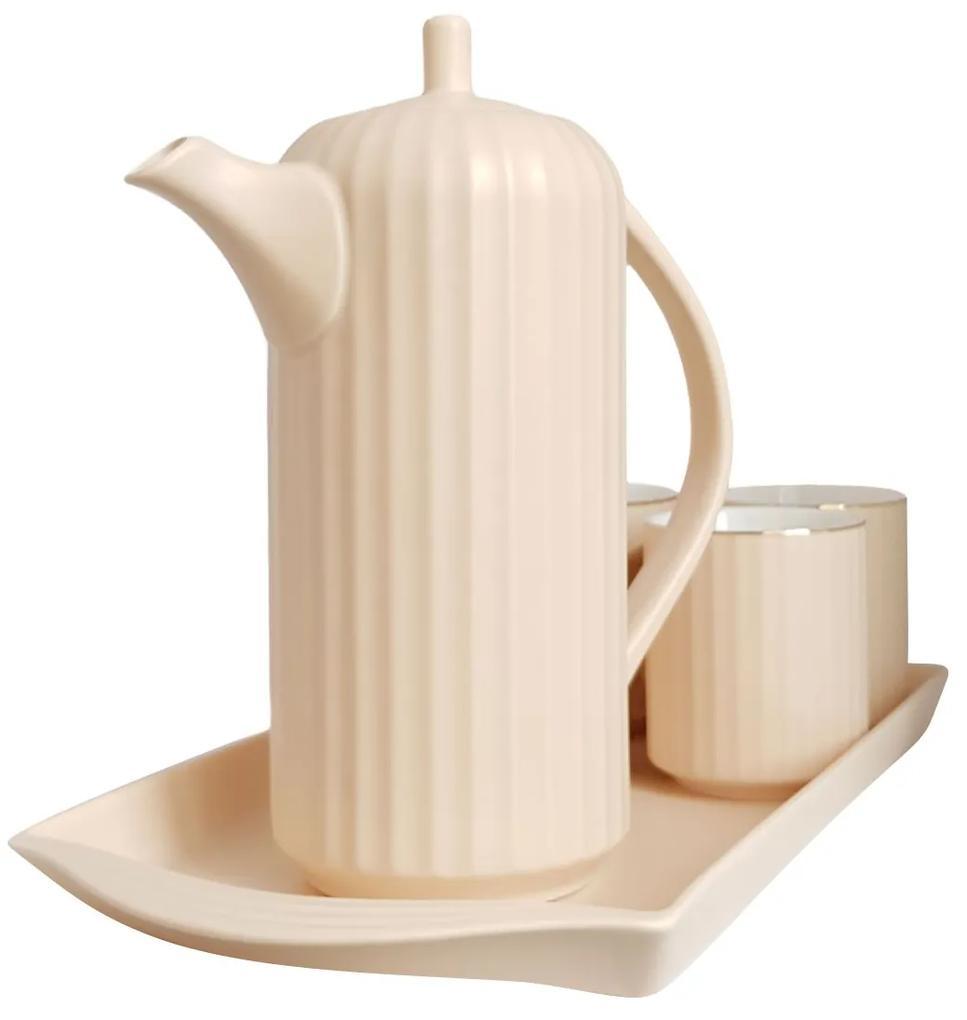 Serviciu din Portelan pentru Ceai si Cafea, Tava, Carafa si 4 Cani, Bej