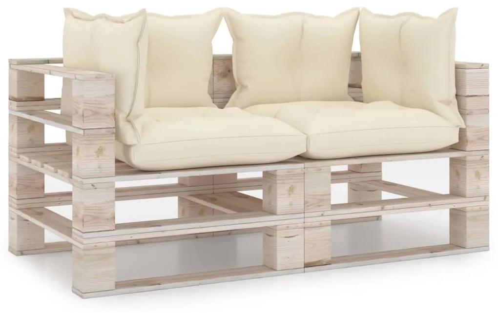 3066103 vidaXL Canapea de grădină din paleți, 2 locuri, cu perne, lemn de pin
