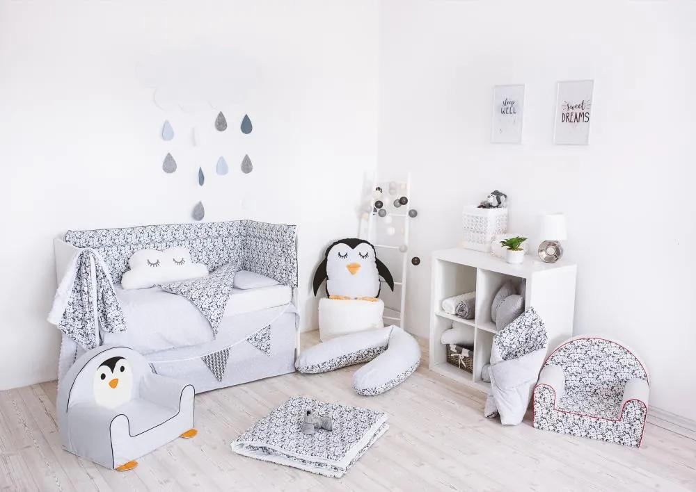 Set de pat pentru bebelusi Penguins 6 piese