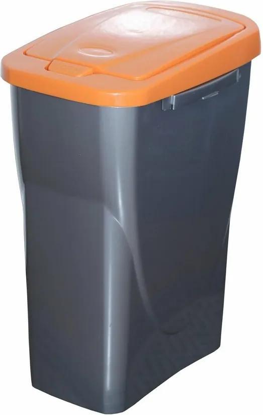 Coş de sortare deşeuri, 51 x 21,5 x 36 cm, capac portocaliu, 25 l