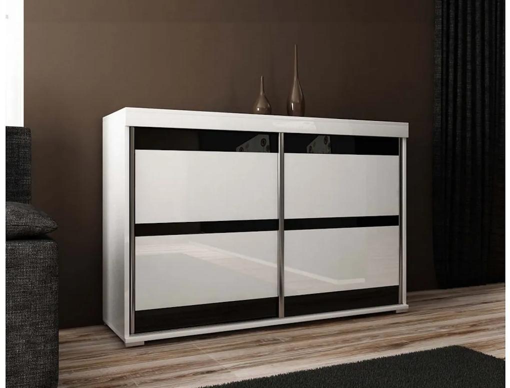 Expedo Comodă MADRID 5, 140x94x45, alb/sticlă neagră