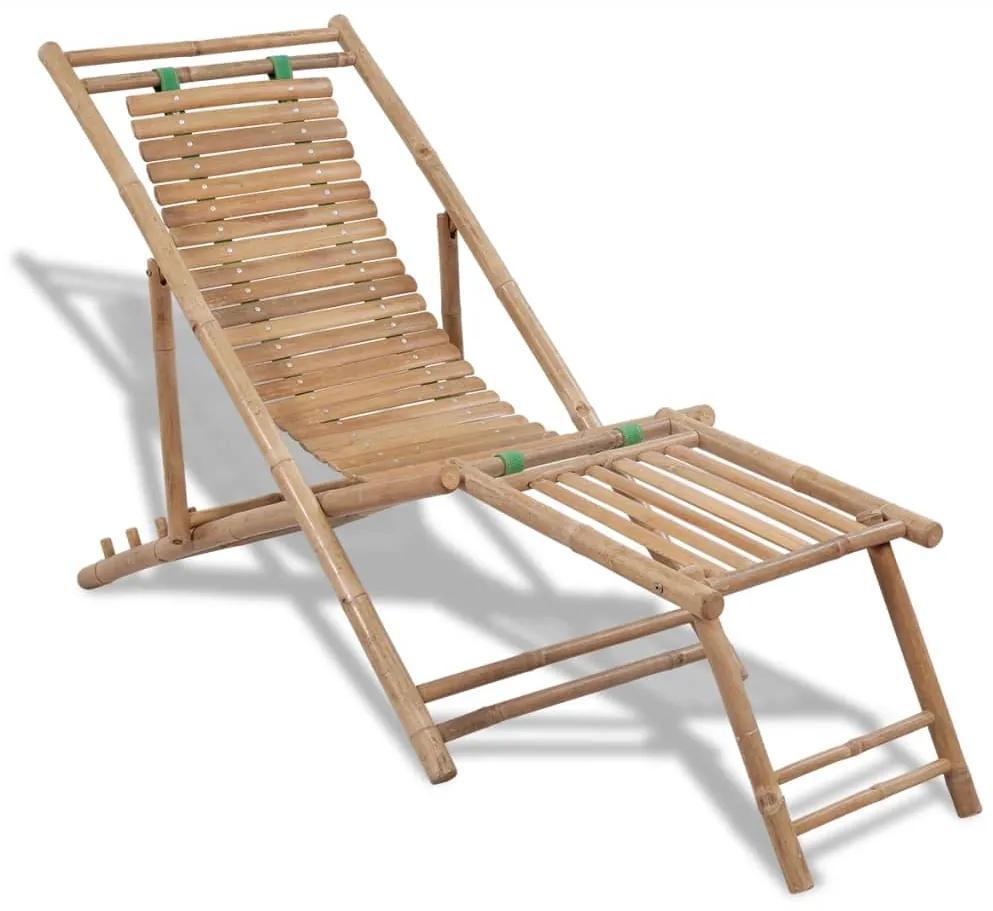 41492 vidaXL Șezlong din lemn de bambus