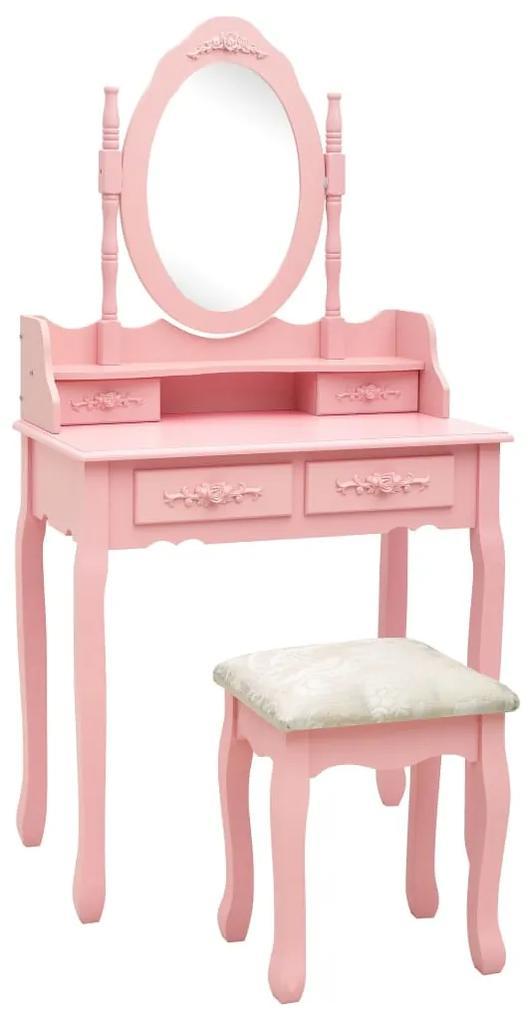 289315 vidaXL Set masă de toaletă cu taburet roz 75x69x140 cm lemn paulownia