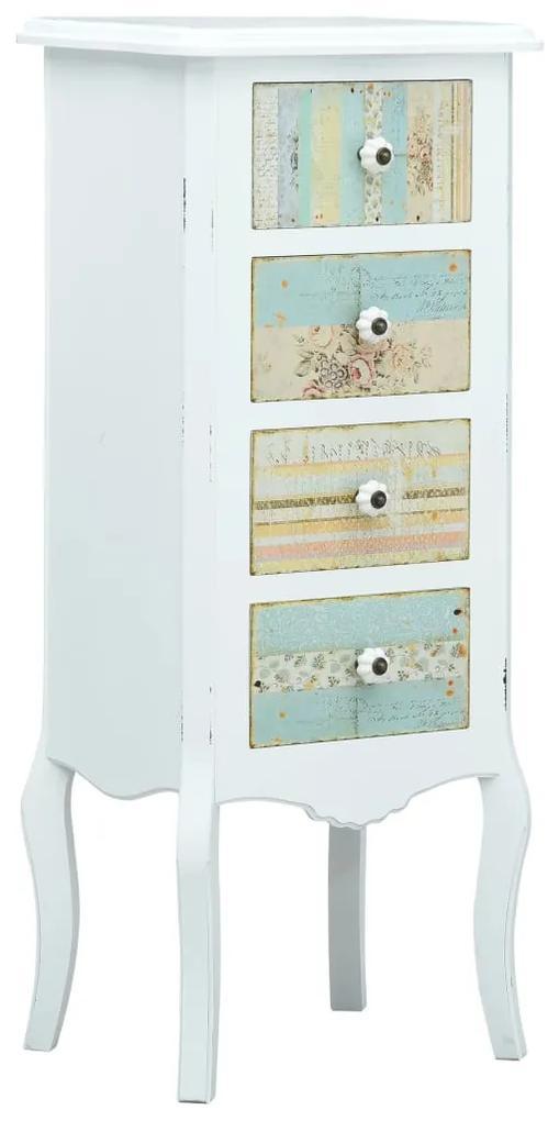 285757 vidaXL Servantă cu 4 sertare, alb, 40x30x95 cm, MDF