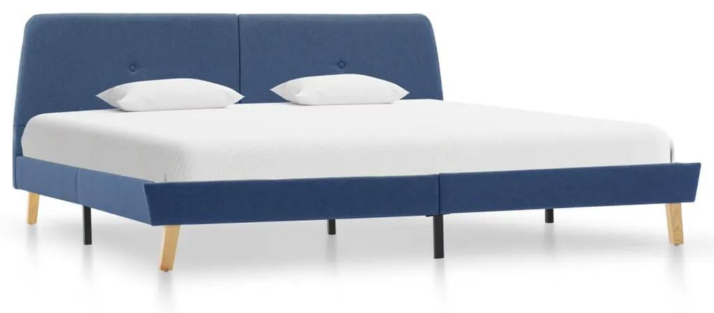 286930 vidaXL Cadru de pat, albastru, 180 x 200 cm, material textil