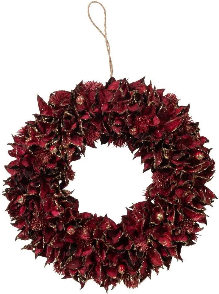 Coroniță pentru Crăciun J-Line Leaf, ø 28 cm, roșu