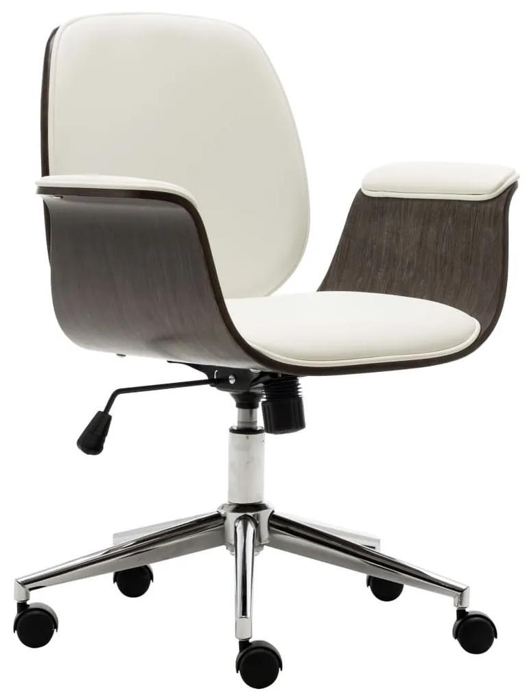 283126 vidaXL Scaun de birou, alb, lemn curbat și piele ecologică