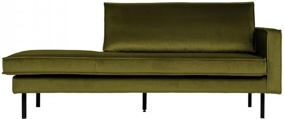 Pat de zi verde oliv din metal si catifea 86x203 cm Rodeo Right