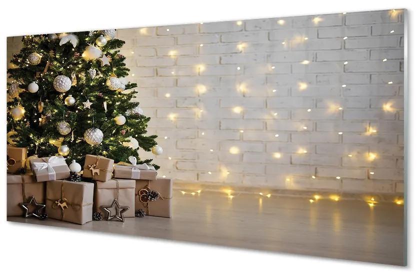 Tablouri pe sticlă Cadouri de Crăciun decorare copac