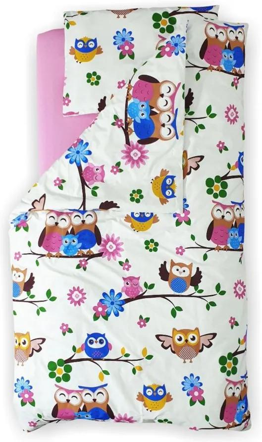Lenjerie pat copii Bufnite 2-8 ani