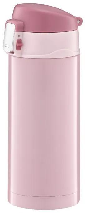 Cana termica 300ml cu buton de siguranta roz Glossy