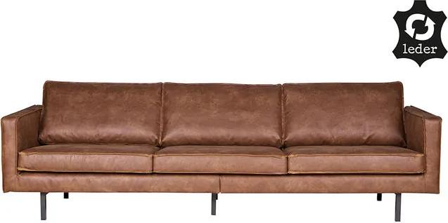 Canapea din piele pentru 3 persoane Rodeo Cognac Be Pure Home