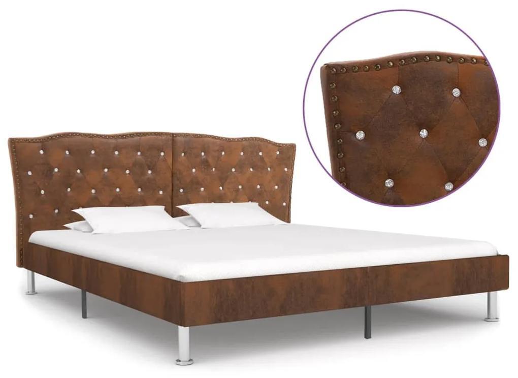 280545 vidaXL Cadru de pat, maro, 160 x 200 cm, piele întoarsă artificială