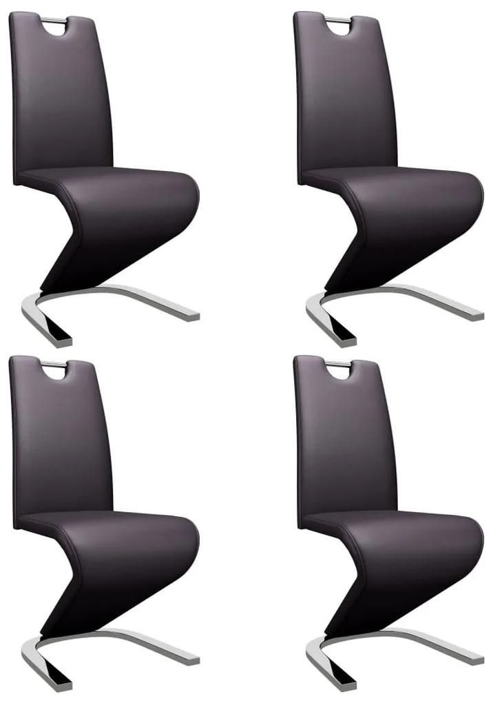 279446 vidaXL Scaune de bucătărie formă zigzag, 4 buc., maro, piele ecologică
