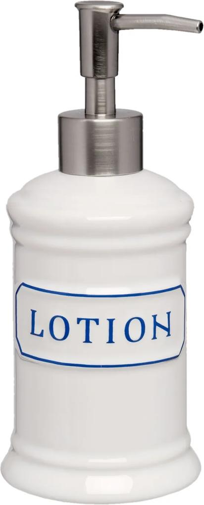 Dispenser ceramica alba pentru sapun Lotion Ø 8x18 cm 0.4 L
