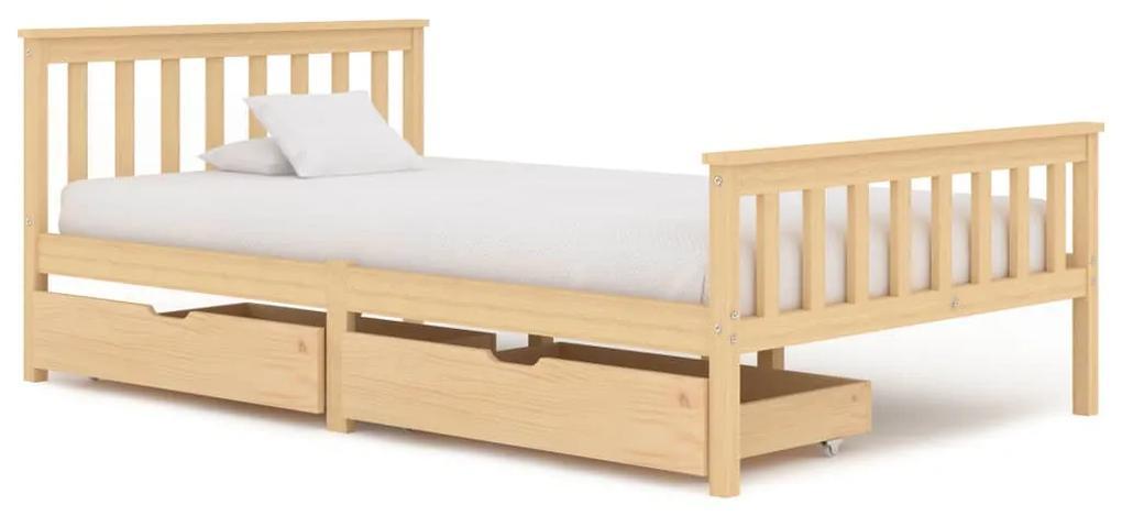 3060338 vidaXL Cadru de pat cu 2 sertare, 120 x 200 cm, lemn masiv pin