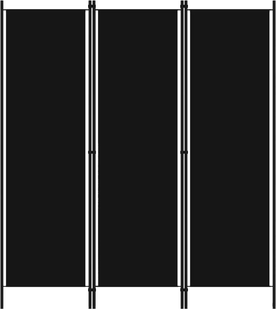 Paravan de camera cu 3 panouri, negru, 150 x 180 cm