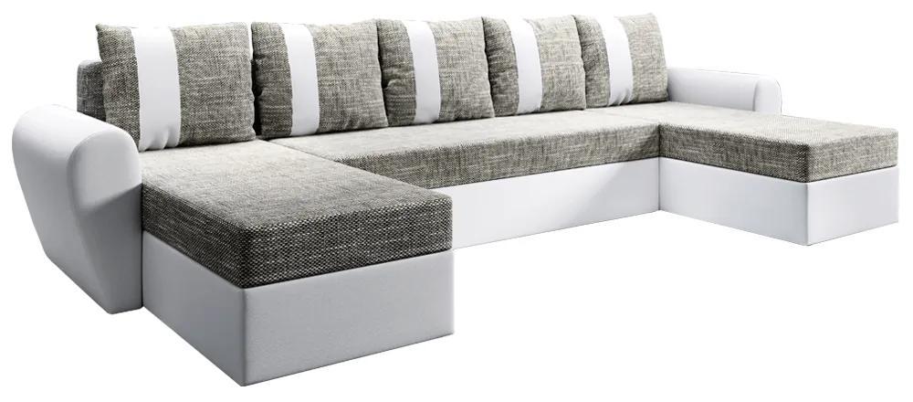 Canapea universală, alb / gri-maro, LUNY ROH U