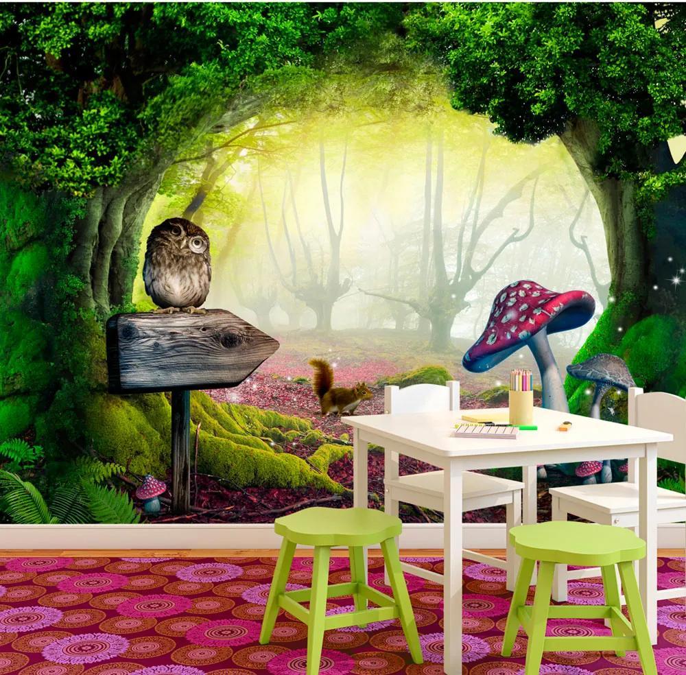 Fototapet - Owlish corner 200x140 cm