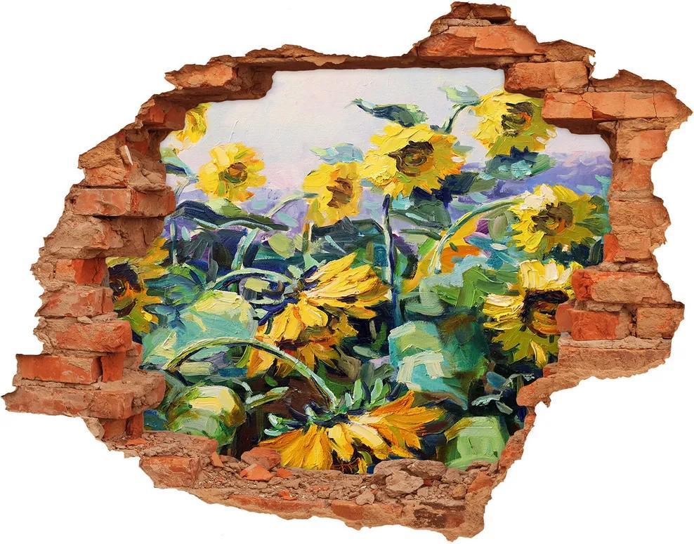 Autocolant de perete gaură 3D Floarea soarelui
