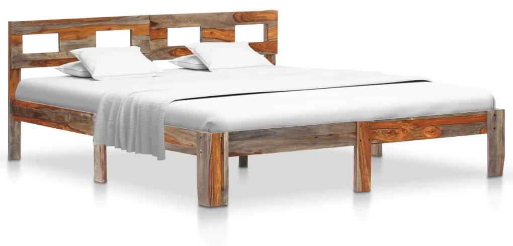 288416 vidaXL Cadru de pat, 140 x 200 cm, lemn masiv de sheesham