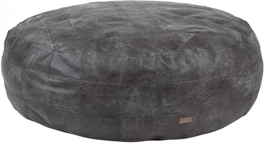 Puf rotun D negru din piele 120 cm Shred