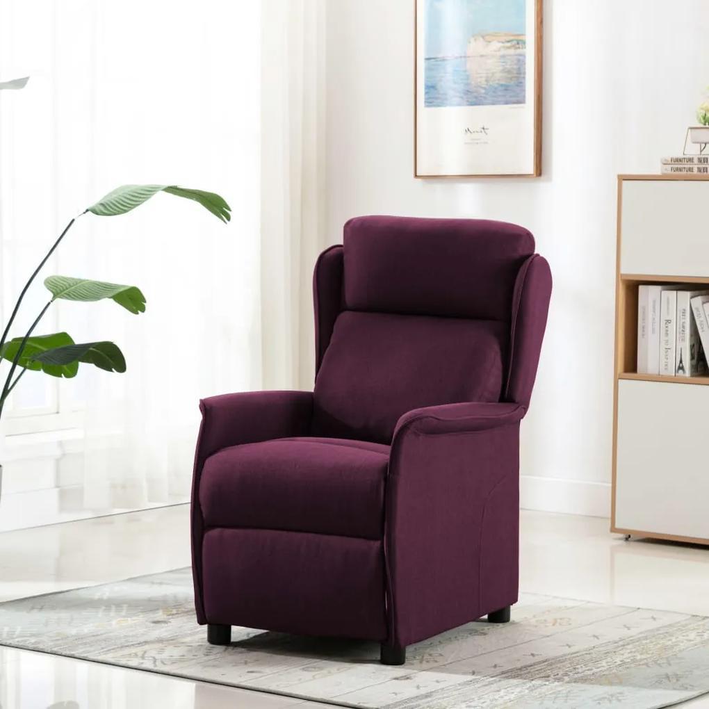 289793 vidaXL Fotoliu rabatabil de masaj, violet, material textil