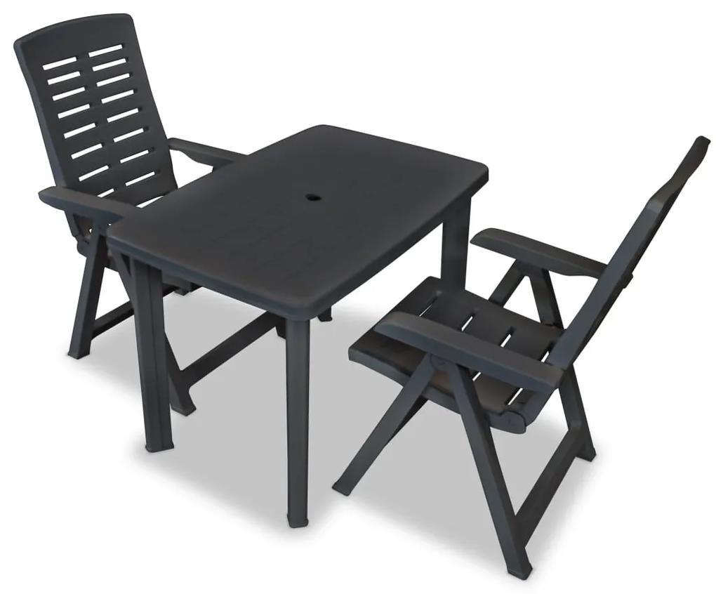 275083 vidaXL Set mobilier bistro, 3 piese, antracit, plastic