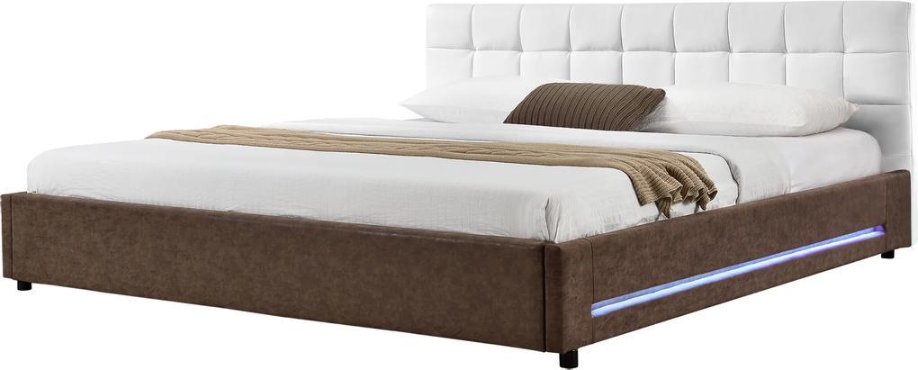 Corium® [my.bed] Pat elegant frantuzesc cu iluminat cu LED - matlasat - 180x200cm (Partea capului: imitatie de piele alb Rama: imitatie de piele Wild maro) - cu rama pat