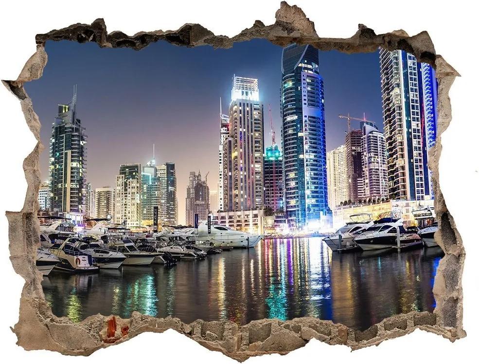 Fototapet un zid spart cu priveliște Dubai timp de noapte