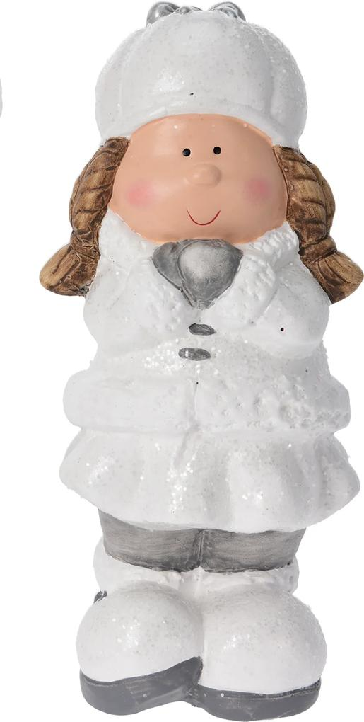 Figurina fetita costum iarna, in picioare, 22 cm