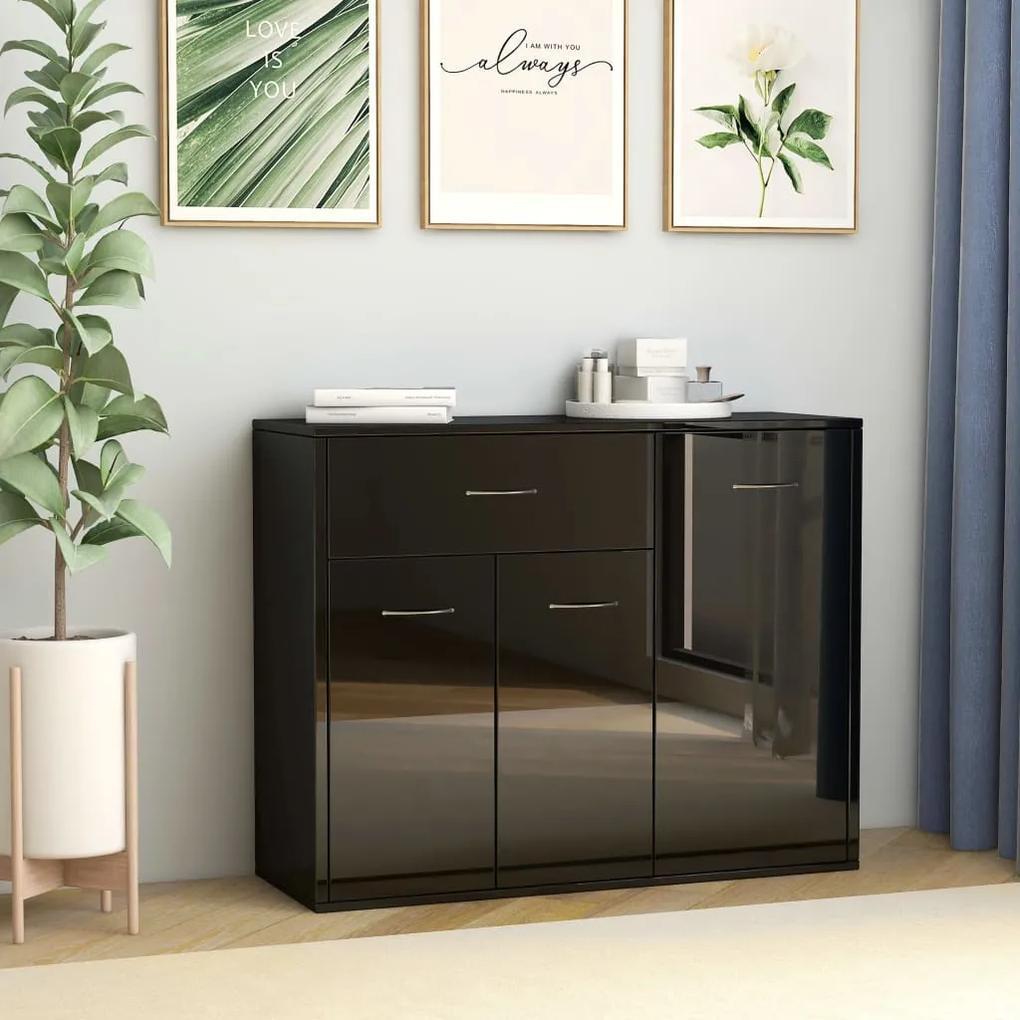 800682 vidaXL Servantă, negru extralucios, 88 x 30 x 70 cm, PAL