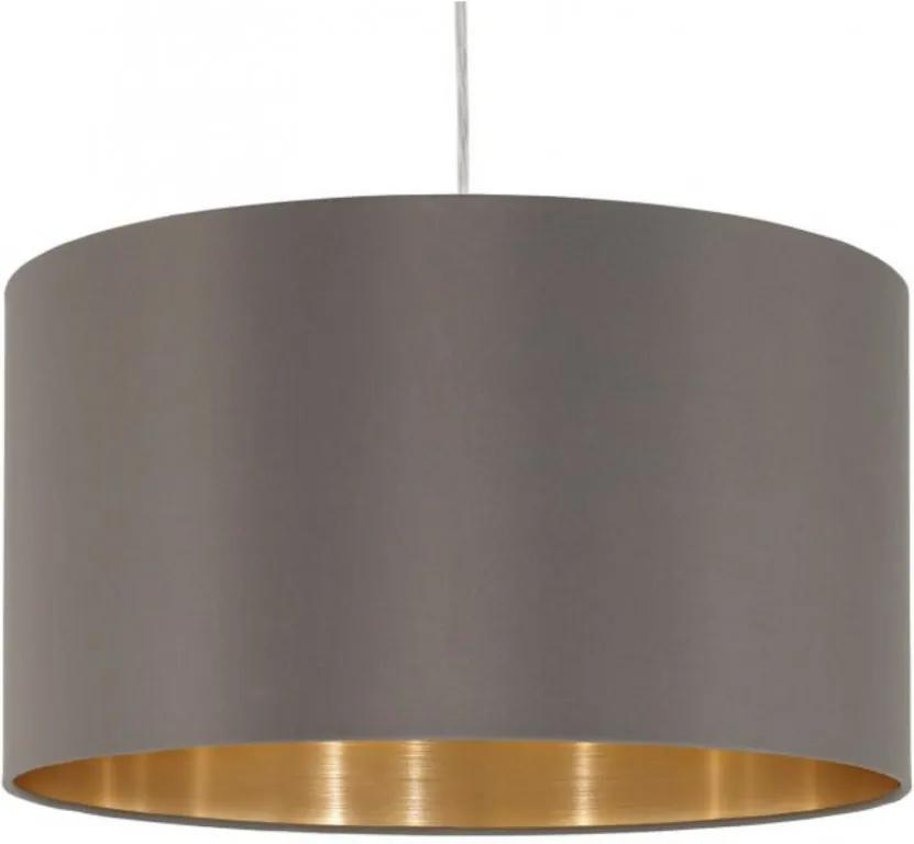 Lustra tip pendul Maserlo I tesatura / otel, 1 bec, maro, diametru 38 cm, 230 V