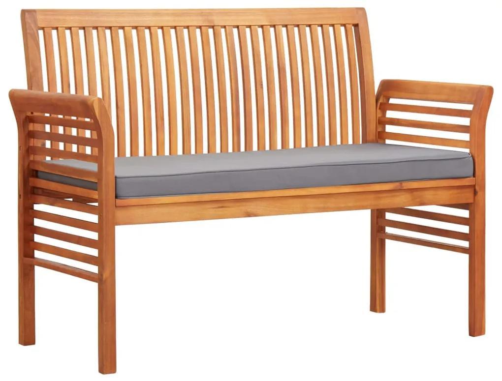 45972 vidaXL Bancă grădină cu 2 locuri & pernă, 120 cm, lemn masiv acacia