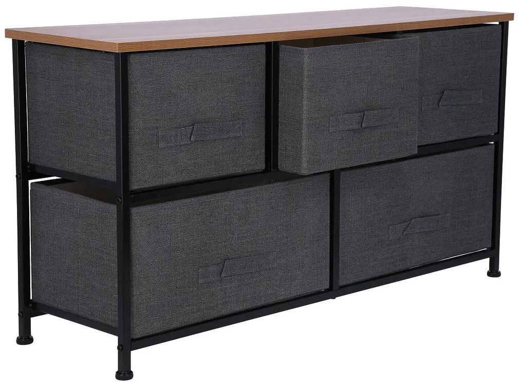 Corp metalic pentru depozitare cu 5 sertare textile 100x29x55 cm