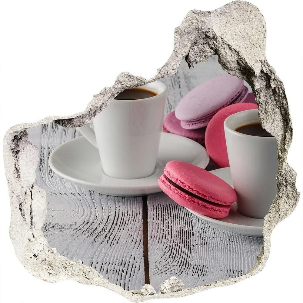 Autocolant 3D gaura cu priveliște Cafea și prăjituri