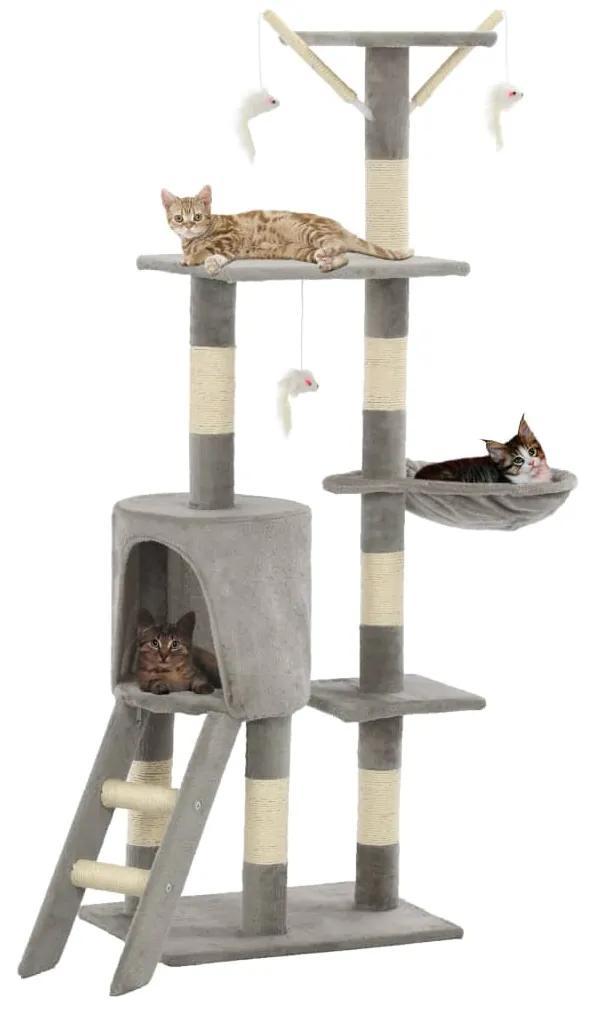 170578 vidaXL Ansamblu pisici cu stâlpi din funie de sisal, 138 cm, gri