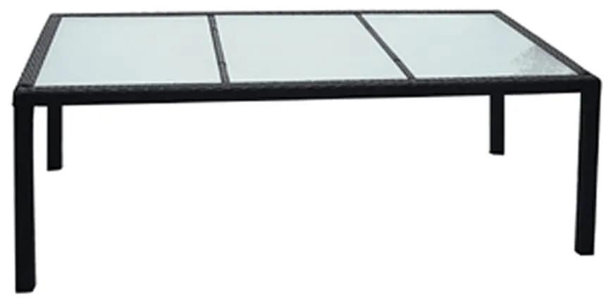 42564 vidaXL Masă de grădină, negru, 190 x 90 x 75 cm, poliratan