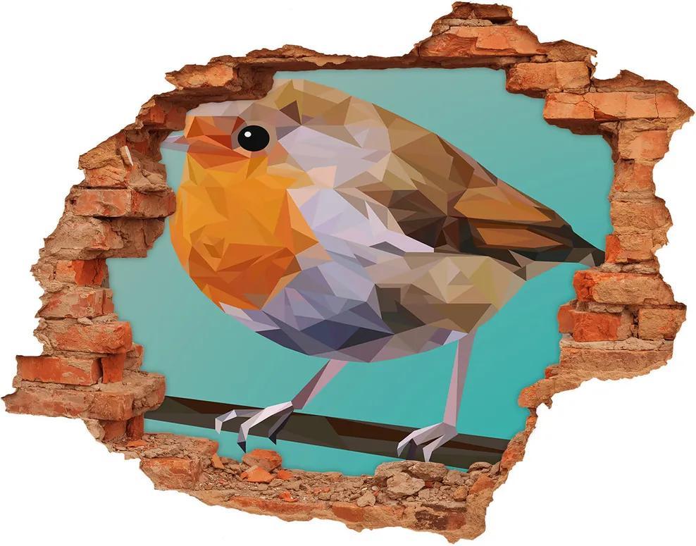 Autocolant gaură 3D Robin pasăre