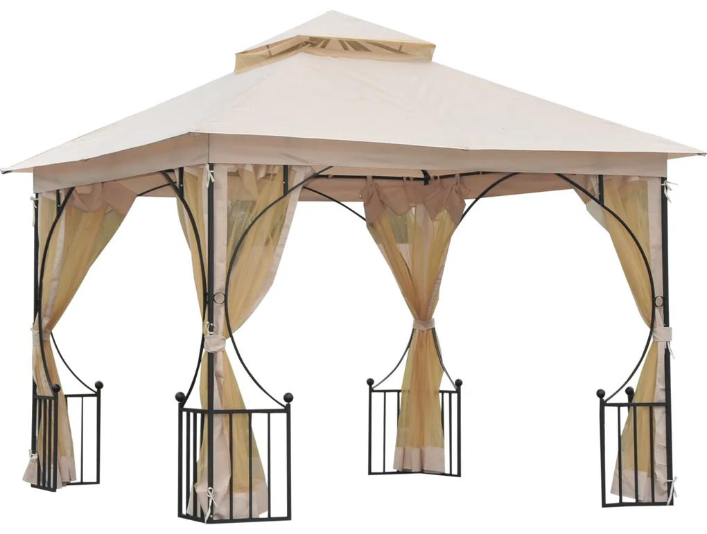 Outsunny Pavilion de Grădină cu Acoperiș Dublu din metal și Poliester,Bej, 3x3m
