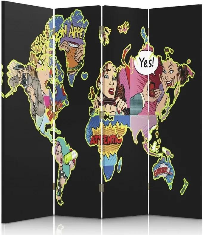 CARO Paravan - A Black Map Of The World Pop Art | cvadripartit | reversibil 145x150 cm