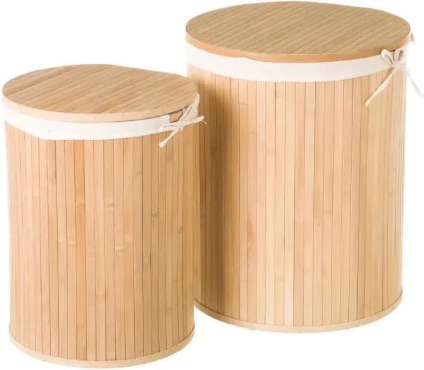 Set 2 cosuri cu capac de rufe din lemn de bambus Round Marl Unimasa