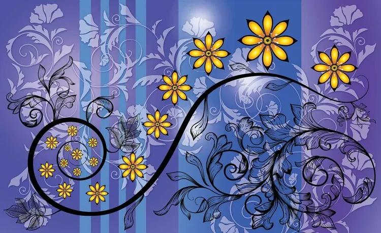Flowers Floral Pattern Fototapet, (152.5 x 104 cm)