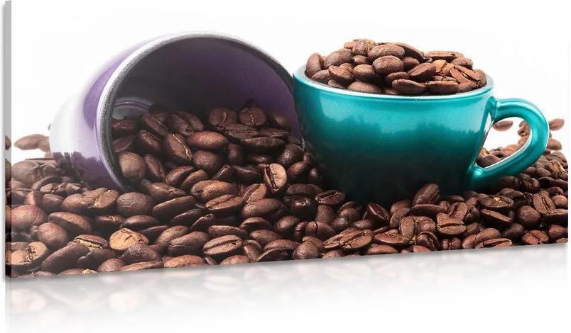 Tablou cești cu boabe de cafea