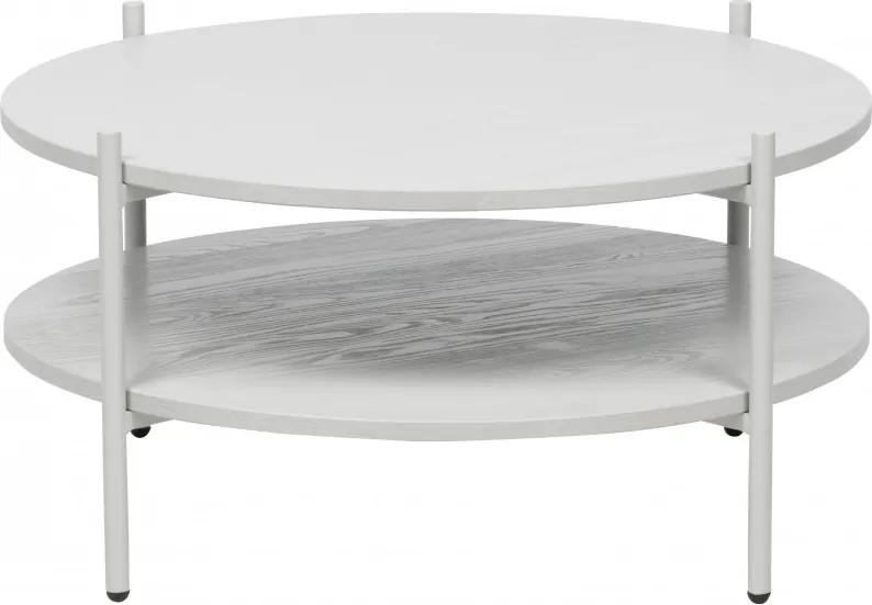 Masuta de cafea rotunda din metal si lemn cu spatiu de depozitare 38x75x75 cm alba