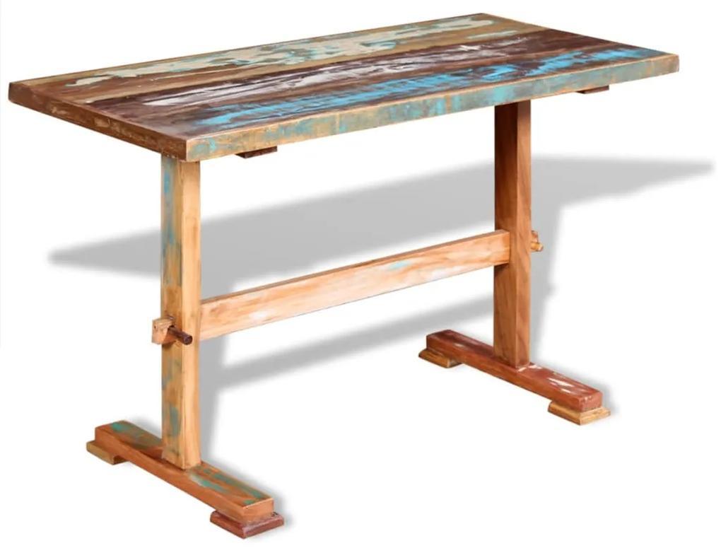244240 vidaXL Masă bucătărie tip piedestal, lemn solid reciclat 120x58x78 cm