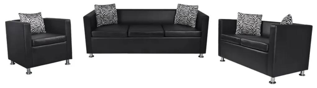 272179 vidaXL Set canapele 3 și 2 locuri și fotoliu, negru, piele artificială