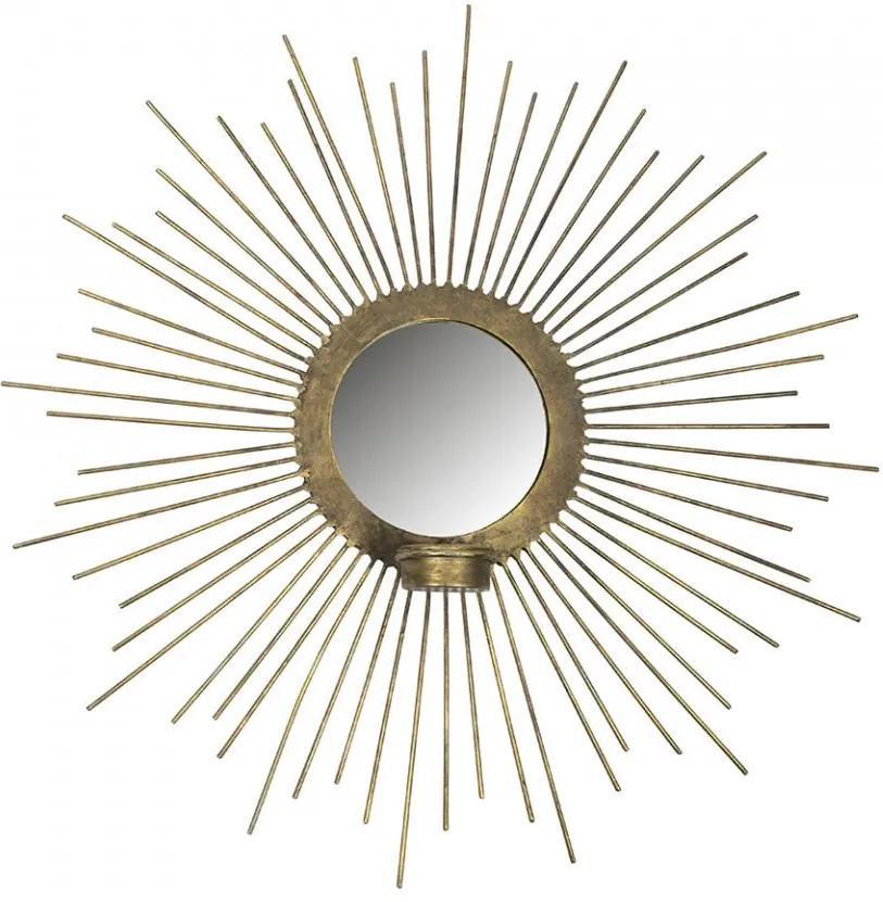 Decoratiune cu oglinda aurie din fier pentru perete 45 cm Sunny