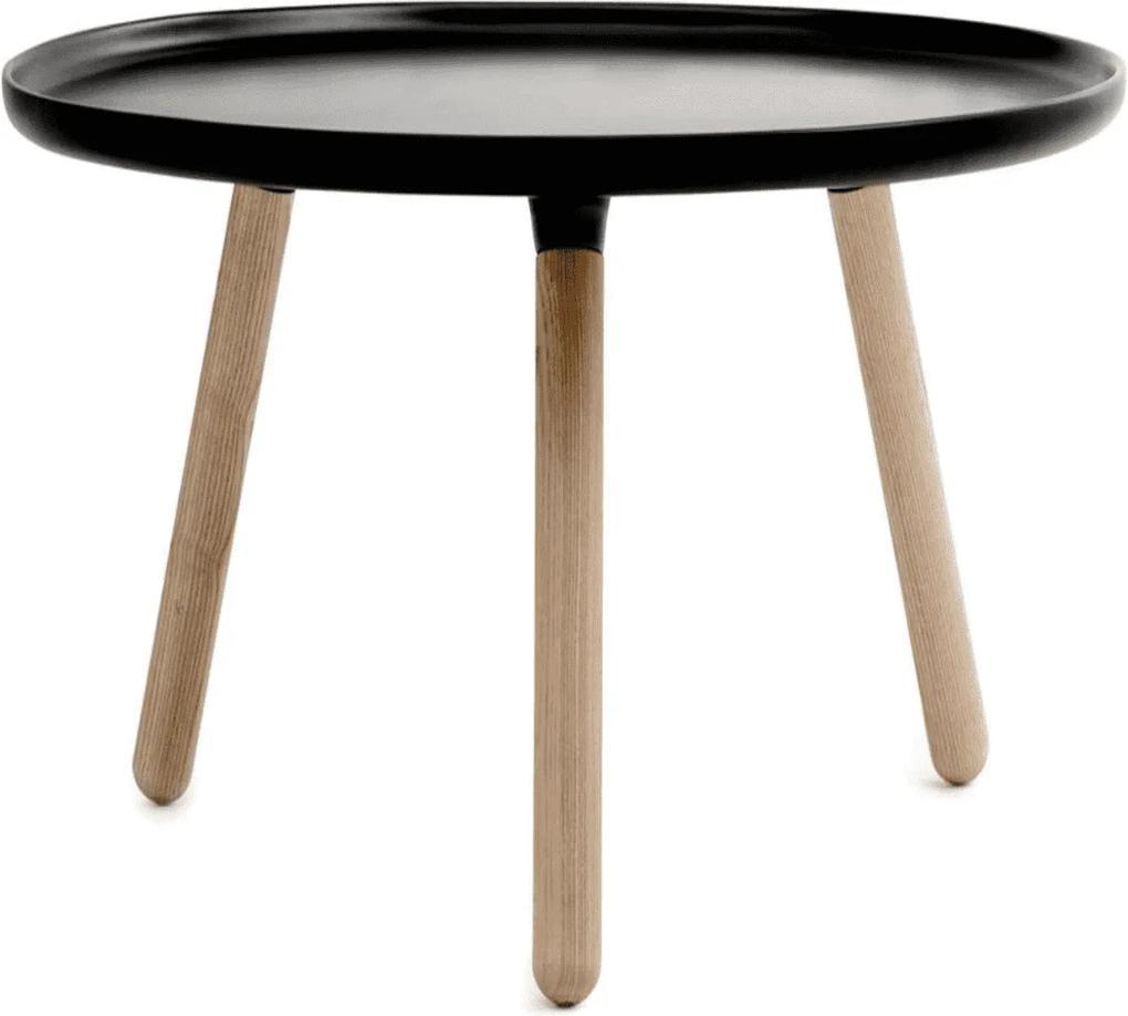 Masuta de Cafea Tablo Mare cu Blat Negru si Picioare din Lemn NORMANN COPENHAGEN - Plastic Negru Inaltime (42cm) x Diametru (78cm)
