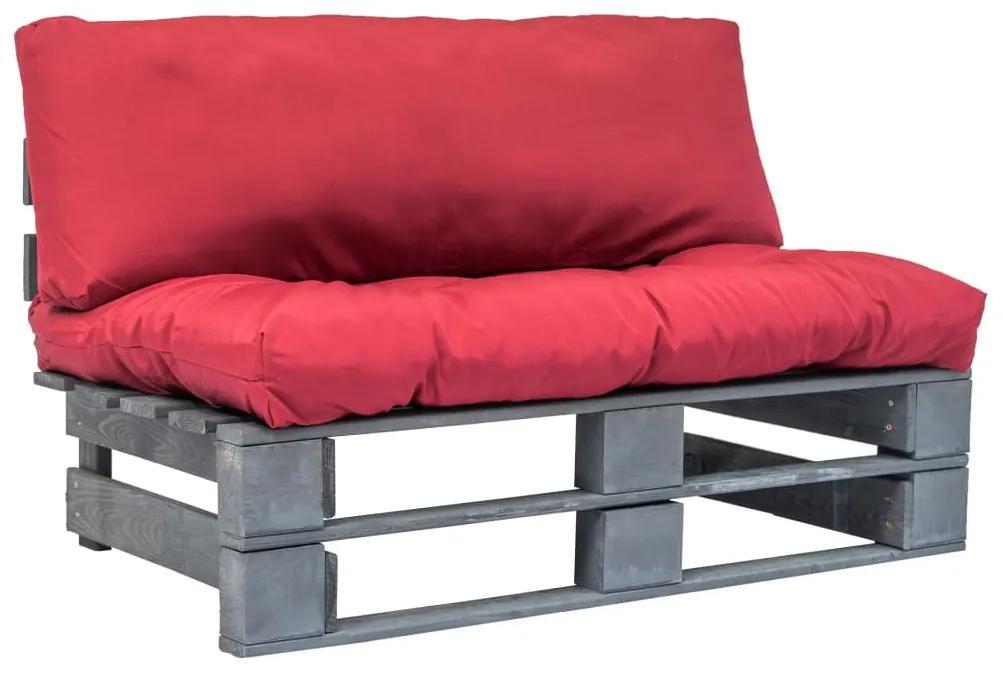 275289 vidaXL Canapea de grădină din paleți cu perne roșii, lemn de pin